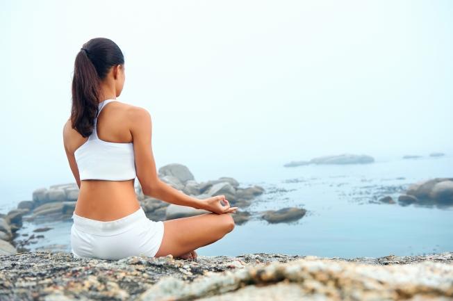 Yoga beach pose
